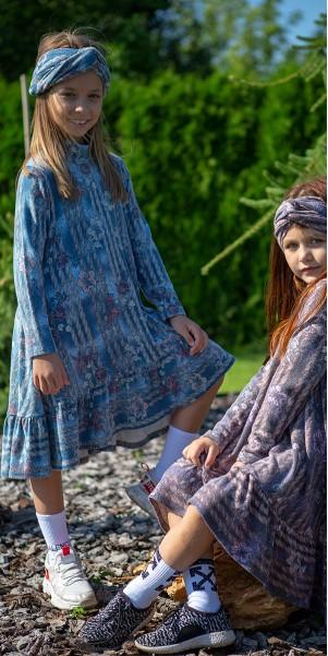 Комплект «ІНГРІД» (сукня, пов'язка) синій джинс р. 98-116